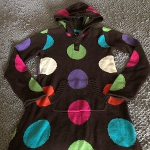 Gap kids polka dot hoodie sweater dress sz 10